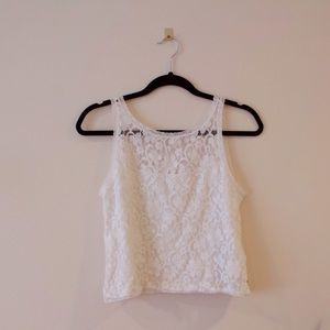 HOLLISTER • Lace overlay tank top • Pure white